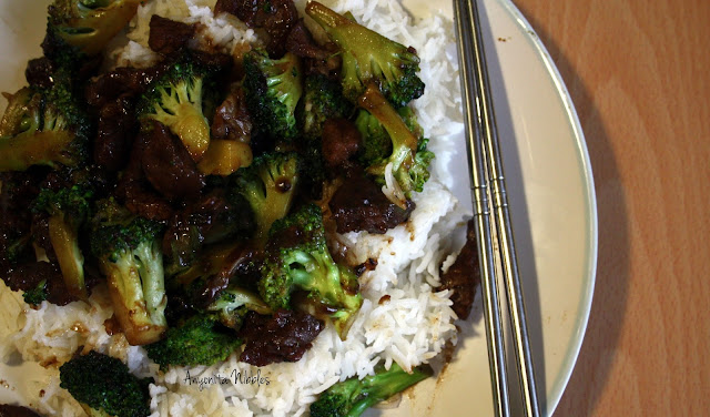 A plate of beef with broccoli with chopsticks from www.anyonita-nibbles.com