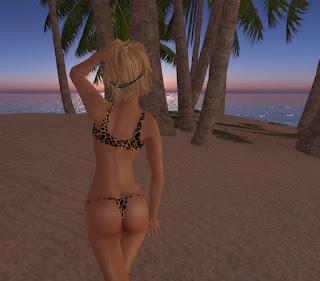 blonde thong butt bikini beach island leopard