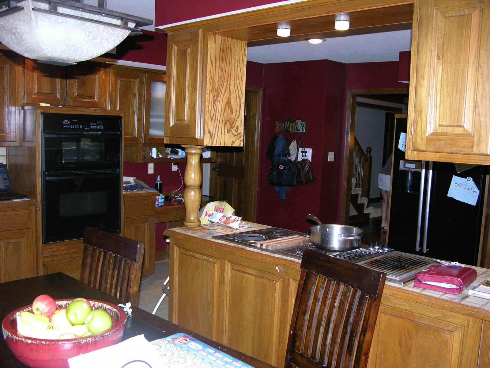 wine cabiout would open up the kitchen into the family room space