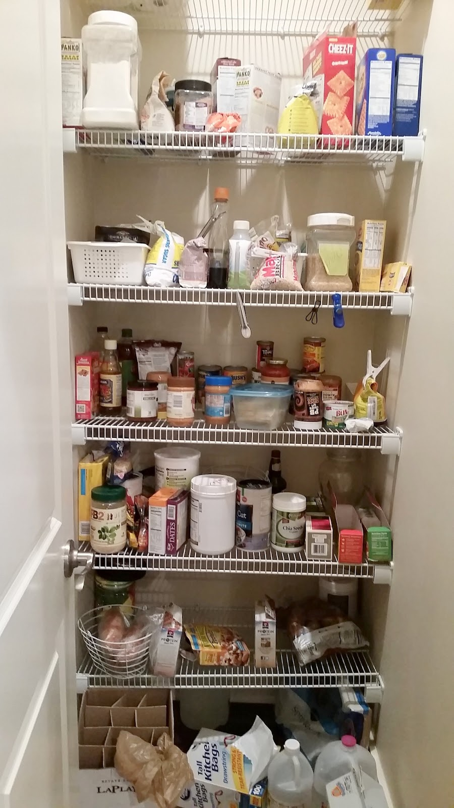 Messy Wire Shelves In Pantry Makeover