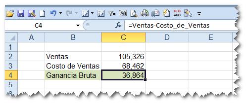 resultado de aplicar nombres en fórmulas