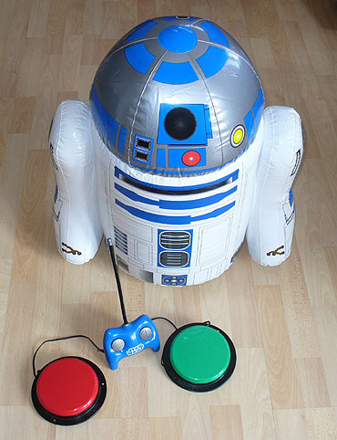 Inflatable R2D2 remote control robot adapted for use with accessibility switches. Via OneSwitch.org.uk.