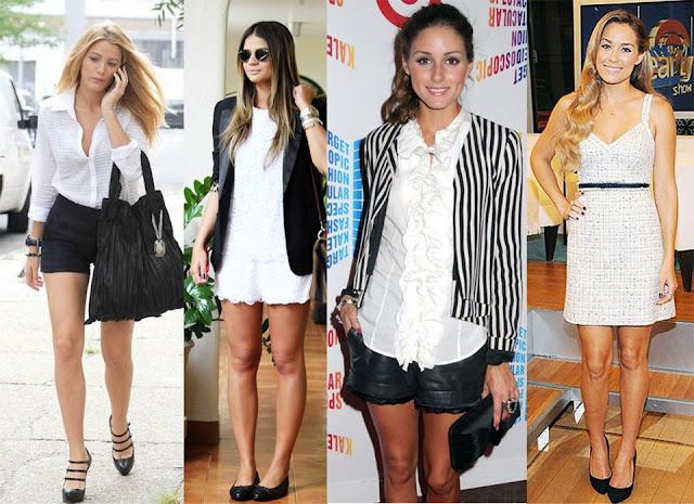 famosas moda preto e branco
