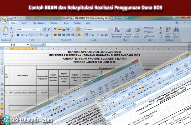 Contoh RKAM dan Rekapitulasi Realisasi Penggunaan Dana BOS