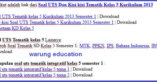 Download Soal Uts Dan Kisi Kisi Tematik Kelas 5 Kurikulum 2013 Warung Education