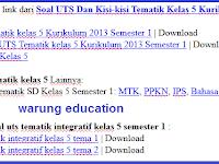 download Soal UTS Dan Kisi-kisi Tematik Kelas 5 Kurikulum 2013