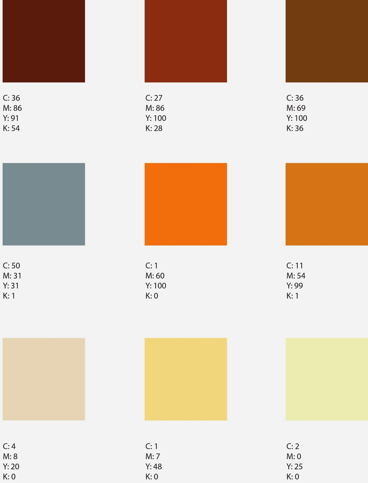 First row: Reddish browns, Second row: pale blues and deep oranges, Last Row: Light yellow and creams