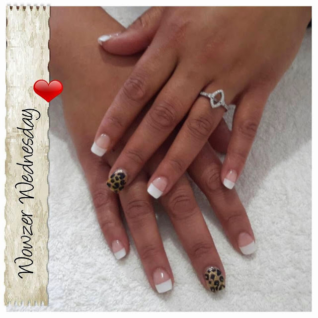 White tip frenchies and red tiger stripe feats shellac manicure, silver feats and 3D leopard design acrylic extensions