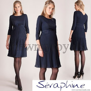 Princess Victoria wore SERAPHINE Sophia Navy Pleated Dress