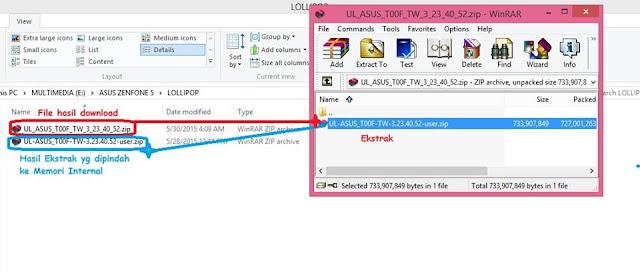 Ekstrak Firmware Lollipop Asus Zenfone 5 di PC