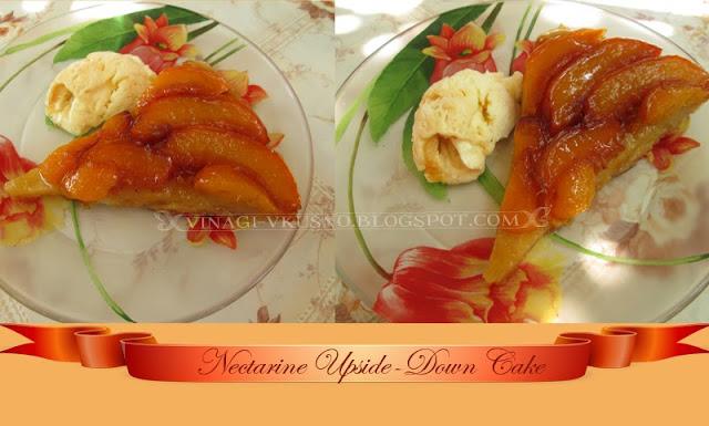 Обърнат сладкиш с нектарини