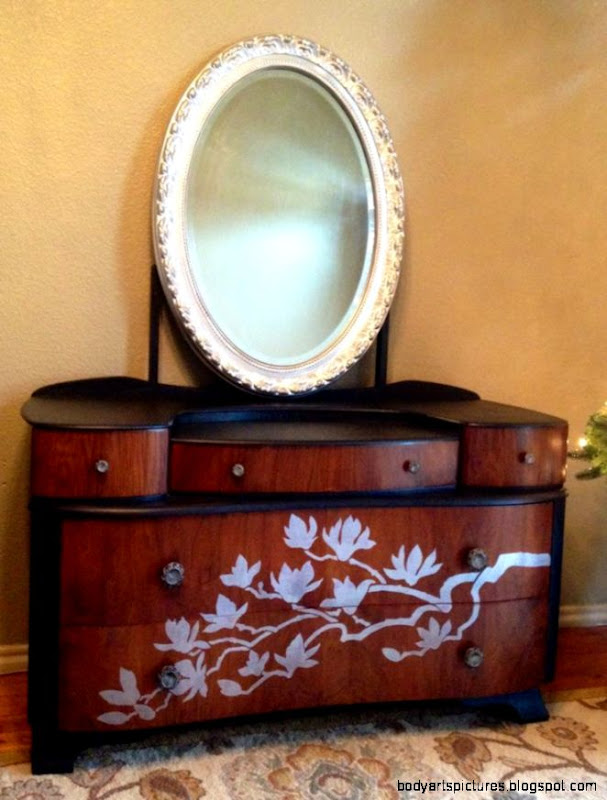Art Deco vanity redo The body was painted black satin drawers