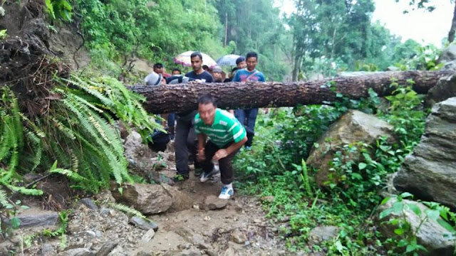 Bimal Gurung visiting the damaged areas during heavy rainfall on 30th june 2015 to 5th july 2015 in the hills