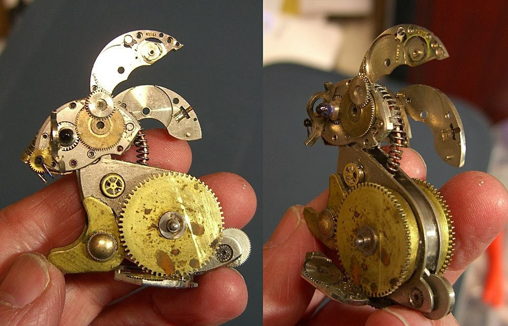 09-Rabbit-Recycled-Watch-Sculptures-Steampunk-Susan-Beatrice-All-Natural-Arts-www-designstack-co