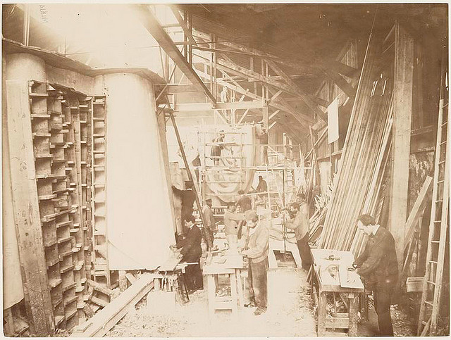 Men at work at the construction of the Statue of Liberty. Fernique, Albert -- Photographer. 1883. Source: Album de la construction de la Statue de la Liberte. Repository: The New York Public Library. Photography Collection, Miriam and Ira D. Wallach Division of Art, Prints and Photographs.