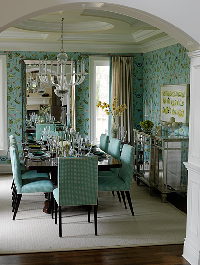 Blue and green dining room room design ideas for Teal dining room decorating ideas