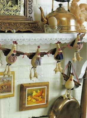 varal de galinhas - patchwork - PAP (diy) com molde