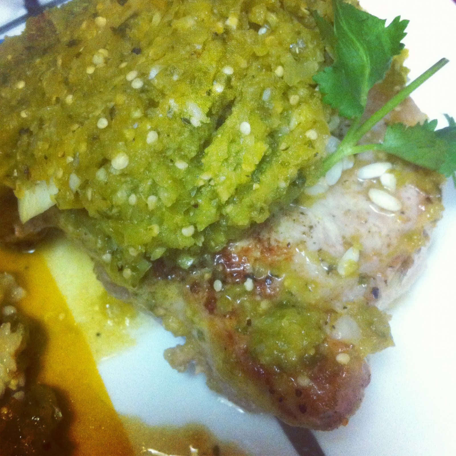 Pork Chops with Salsa Verde Rice | Burnt to a Crisp
