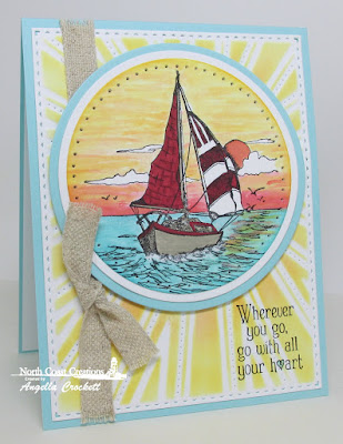 NCC Saily Away, ODBD Custom Sunburst Background Die, Card Designer Angie Crockett