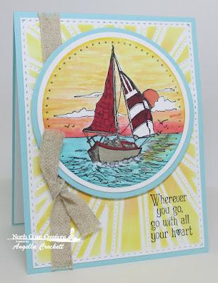 NCC Saily Away, ODBD Custom Sunburst Background Die, Card Designer Angie Crockett