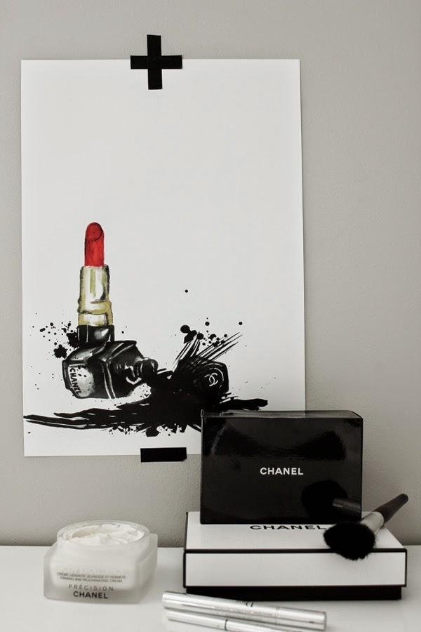 konsttryck, läppstift tavla, tavlor med smink, sminktavla, sminktavlor, poster med rött läppstift, chanelinspirerad artprint, prints, med chanel produkter, nagellack, svart, svart och vitt, posters, prints, print, webbutik, webshop