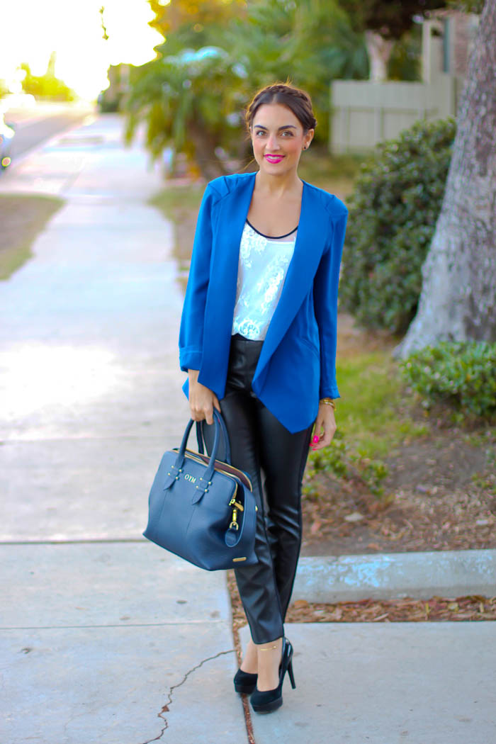 blue blazer faux leather pants target style gigi new york parker satchel bag