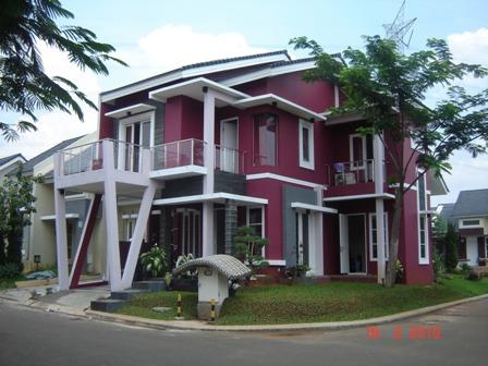 Cat Rumah Minimalis Warna Ungu, 2 lantai, mewah