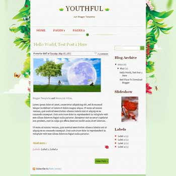 Youthfull Blogger Template. blogger template from wordpress theme