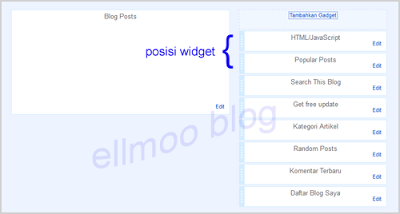 Posisi widget Popular Posts Blogger
