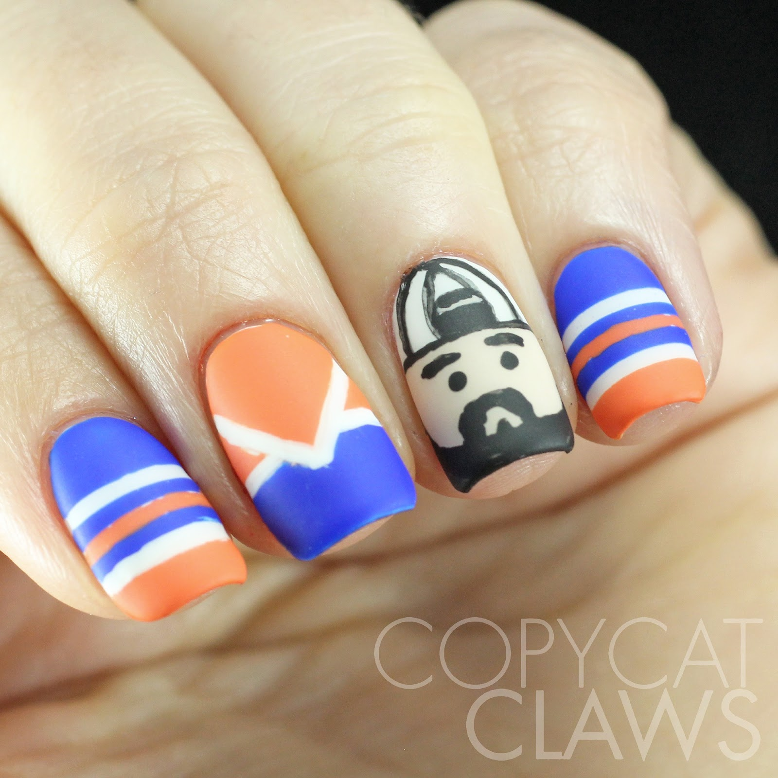 Copycat Claws Blue Color Block Nail Art: Copycat Claws: The Digit-al Dozen Does Fandom: Day 1 Kevin