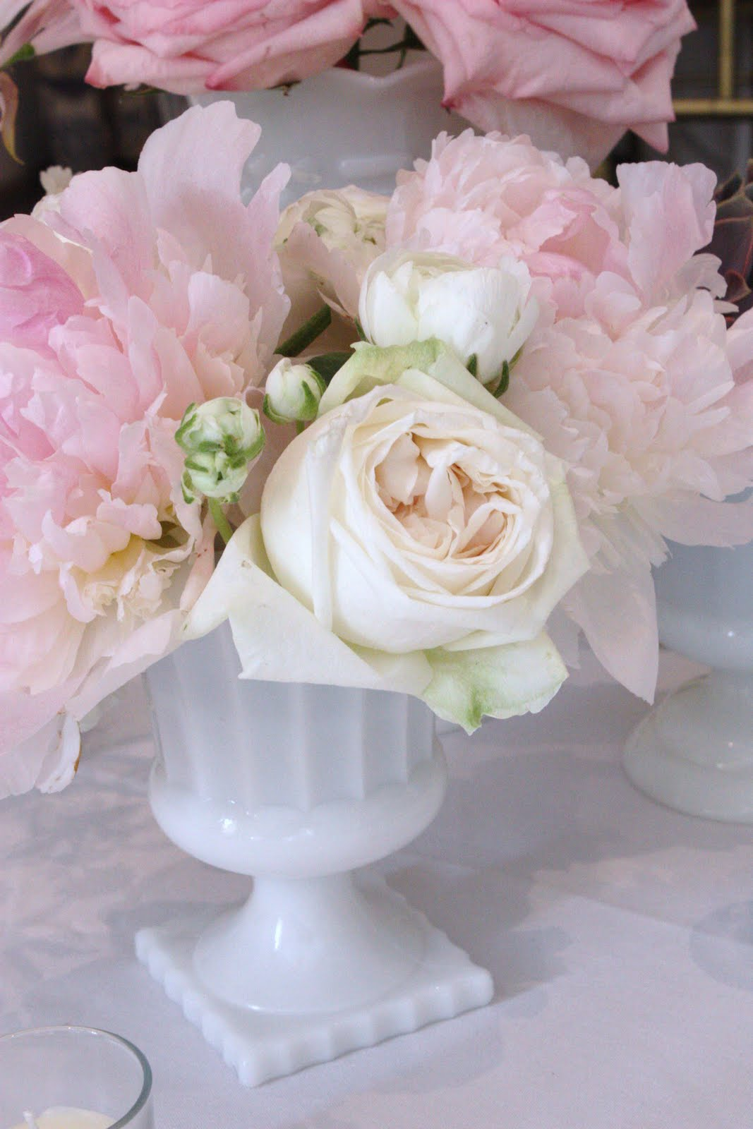 Blush floral design milk glass wedding at wadsworth mansion
