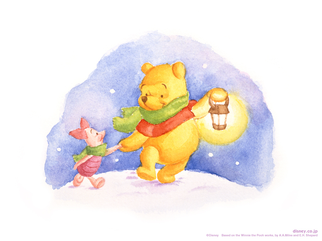 Disney Tapete Winnie Pooh : Winnie the Pooh and Piglet Walking