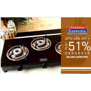 Paytm : Buy Padmini Gas Cooktops And Extra 51% Cashback from Rs. 1230 BuyToEarn