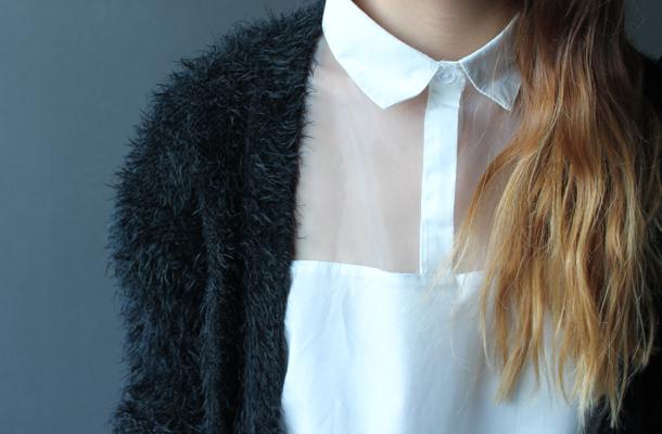 6ks sheer panel white shirt