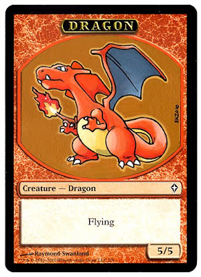 Dragon Pokemon Magic the Gathering token card mtg altered art token token mtg card Charizard art Charizard Magic Klug