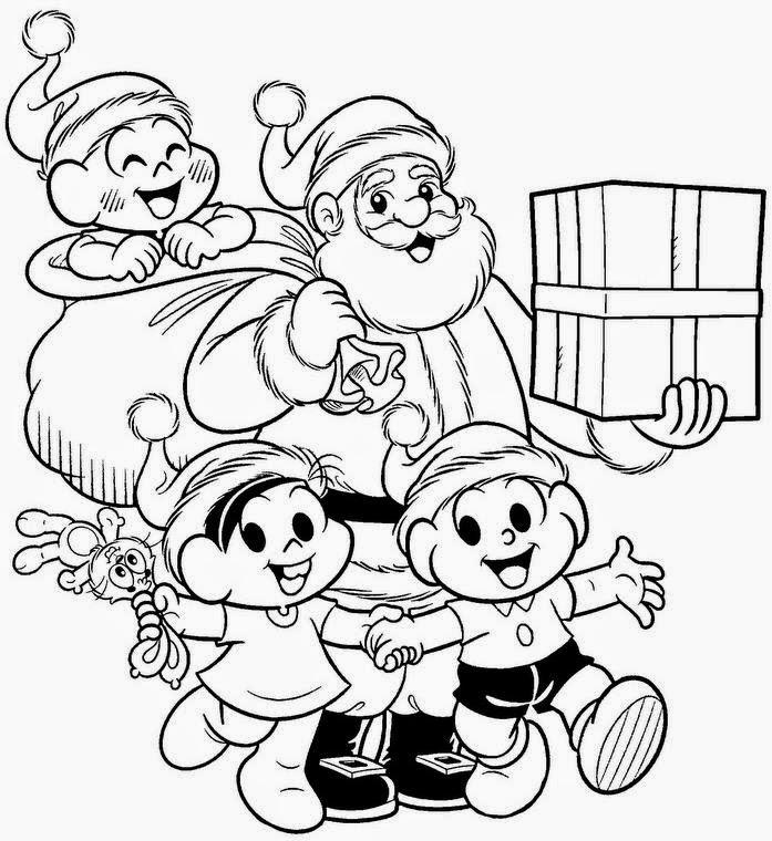 desenho da turma da monica com papai noel
