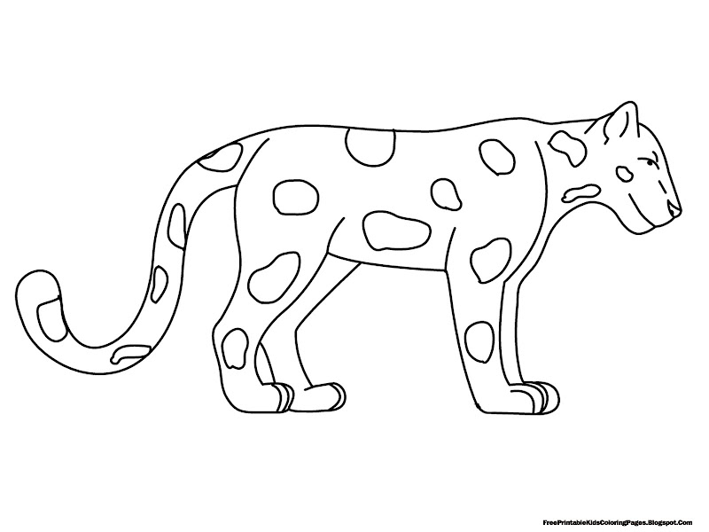 Standing Jaguar Free Printable Kids Coloring Pages title=