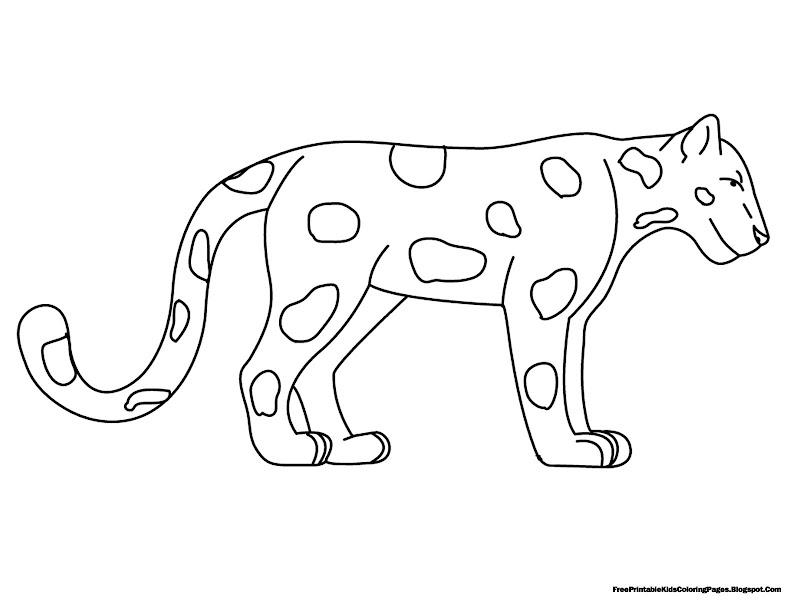 Standing Jaguar Free Printable Kids Coloring Pages title=