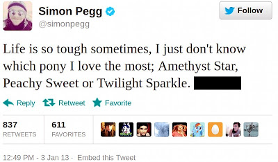 Simon Pegg's tweet mentioning ponies