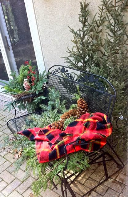 front porch, plaid blanket, natural Christmas, black bench