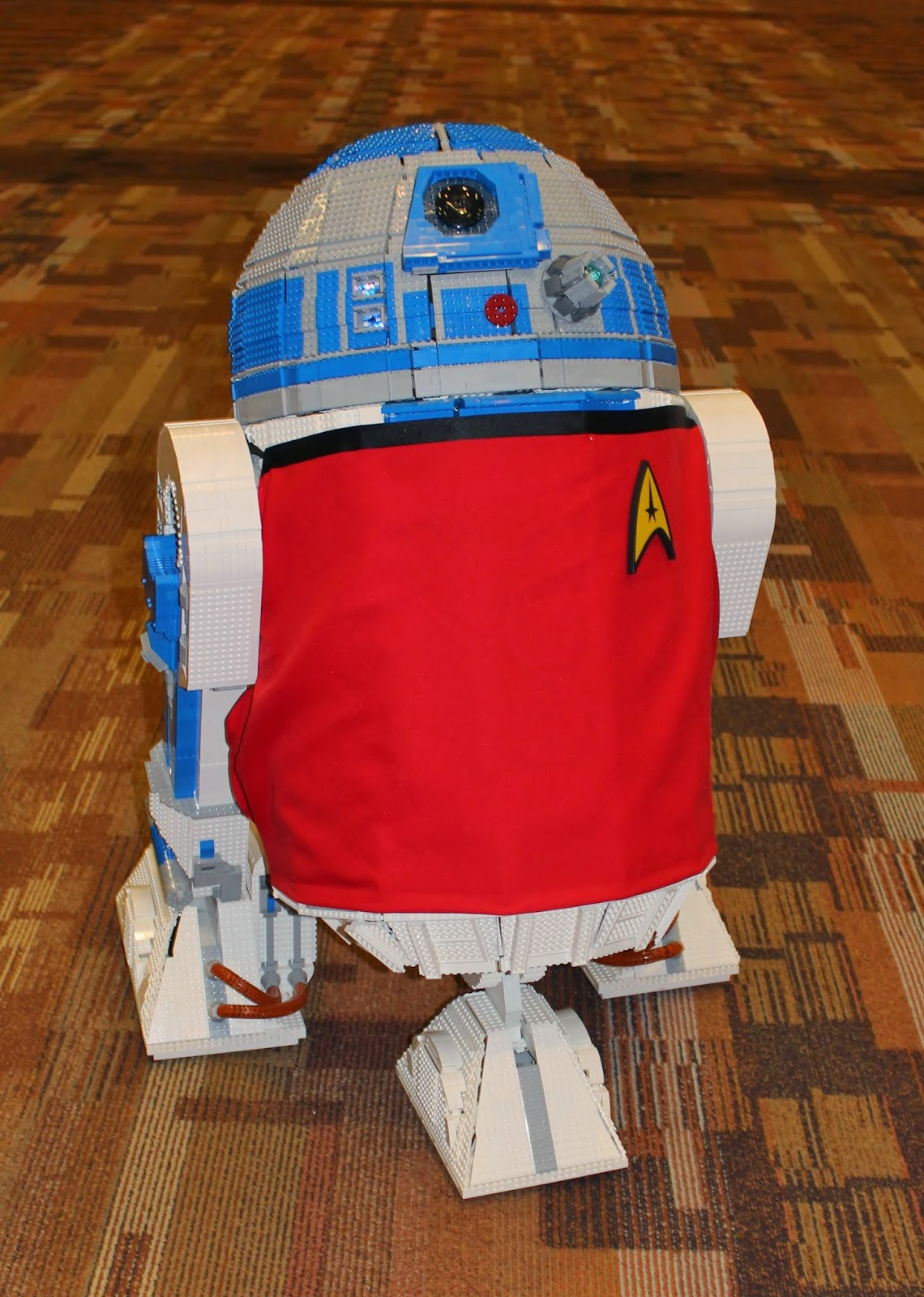 Lego R2-D2 wearing Star Trek Redshirt