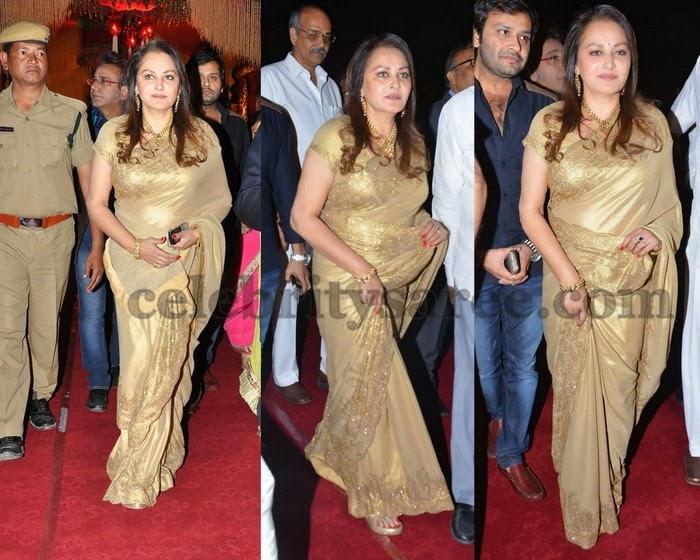 Jayapradha Shimmer Gold Saree
