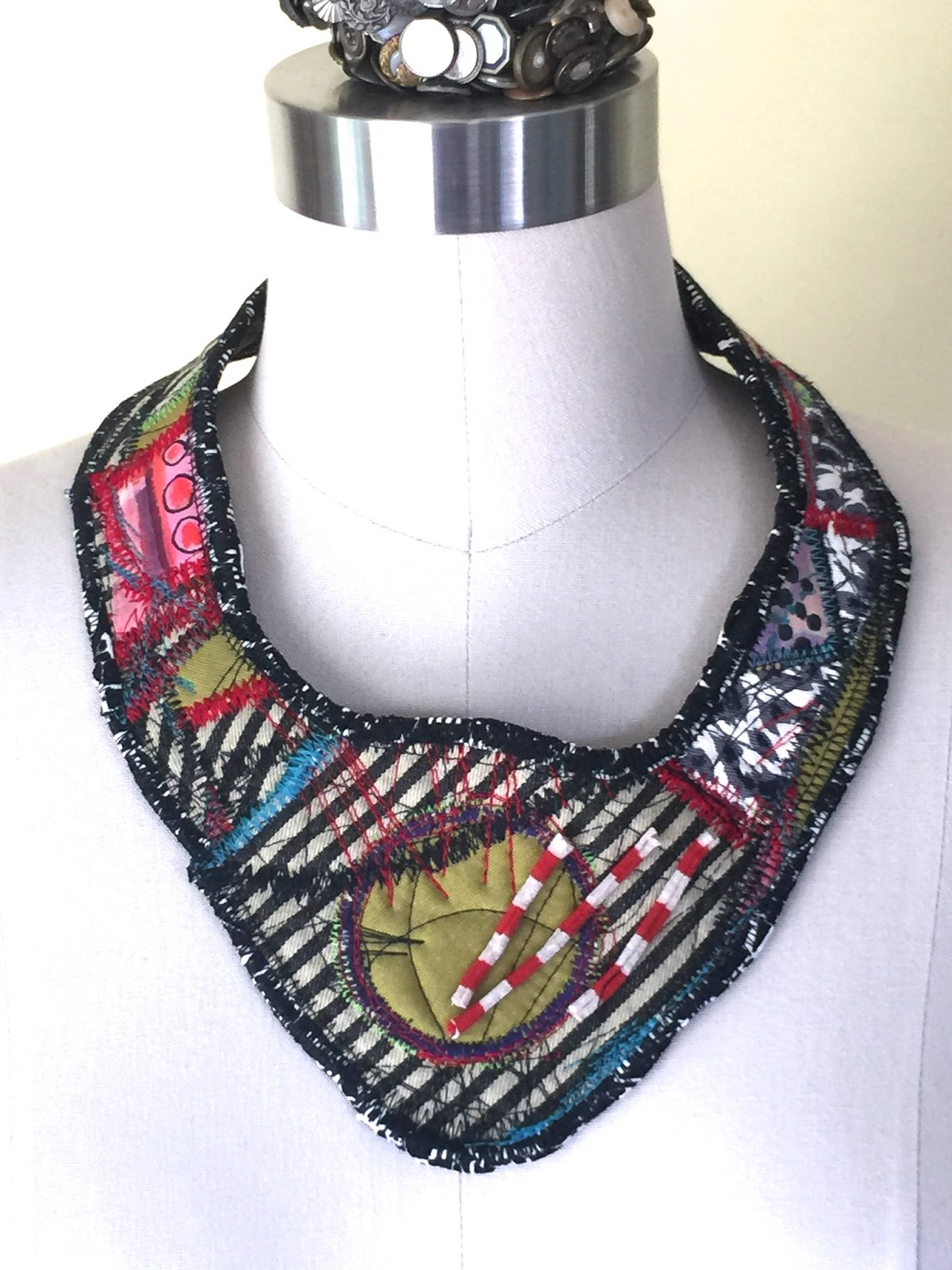 textile fabric jewelry pin necklace ooak op atliart upcycled door vintage hindu bohemian