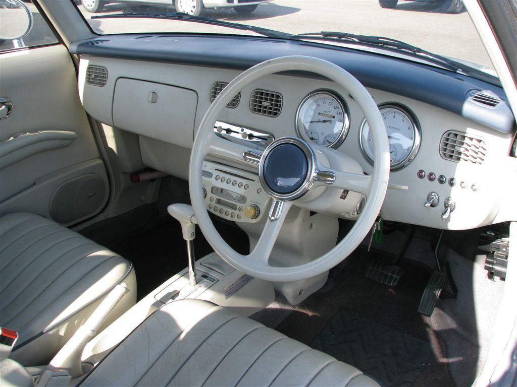 Nissan Figaro, FK10, JDM, turbo, retro, pike car, limited, unique, classic, japoński, stary, samochód, unikalny, klasyczny, wnętrze, interior, mały, 日産, 日本車, こくないせんようモデル, パイクカー