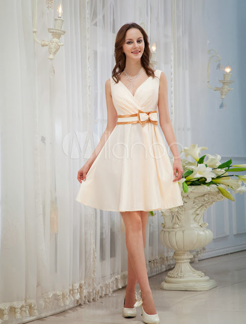 China Wholesale Clothes - Champagne V-Neck Knee Length Bow Satin Woman's Homecoming Dress