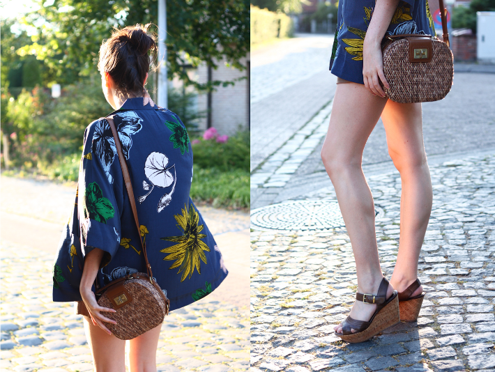 kimono wicker box bag outfit