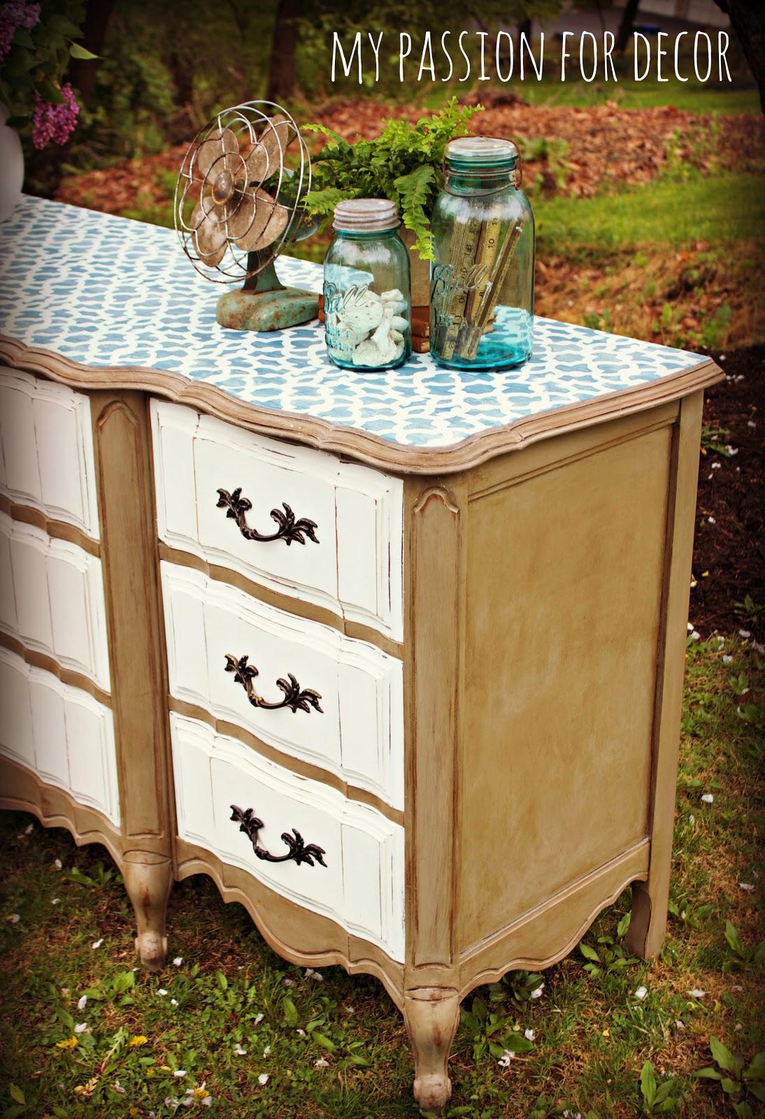 Painted French Provincial Bedroom Furniture My Passion For Decor The Stenciled Dresser Challenge