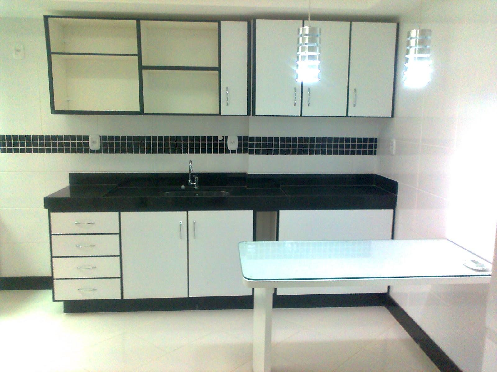 JB Marcenaria: Armário de cozinha preto e branco #727754 1600x1200