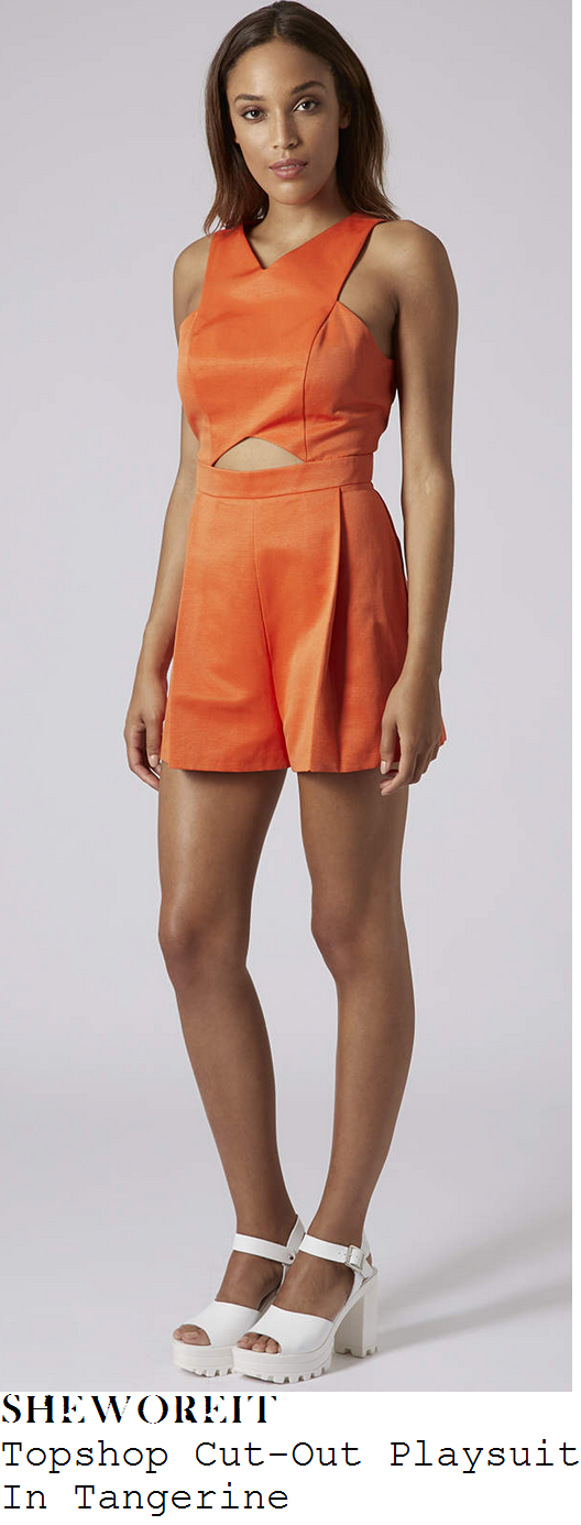lucy-mecklenburgh-bright-orange-sleeveless-cut-out-playsuit-wh-smith-sheffield