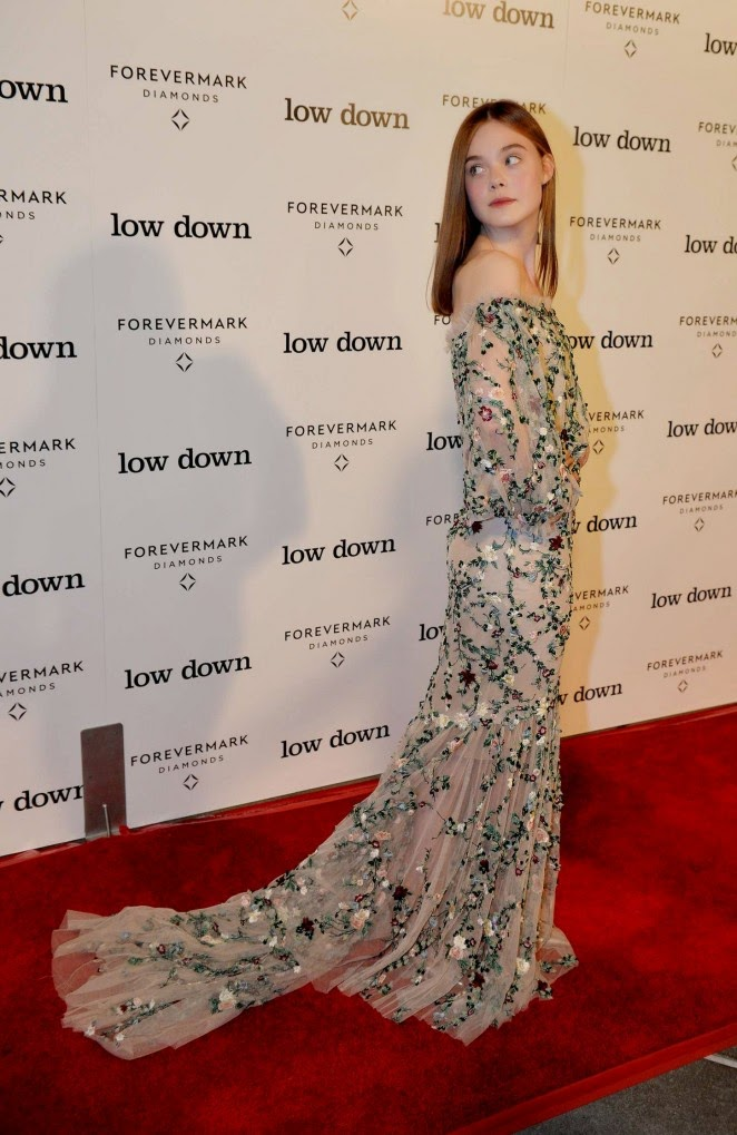 Elle Fanning is gorgeous in an off shoulder Marchesa dress at the 'Lowdown' Hollywood premiere